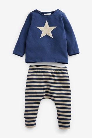 Navy Star T-Shirt And Leggings Set (0mths-2yrs)