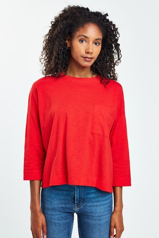Whistles Red Cotton Pocket Top