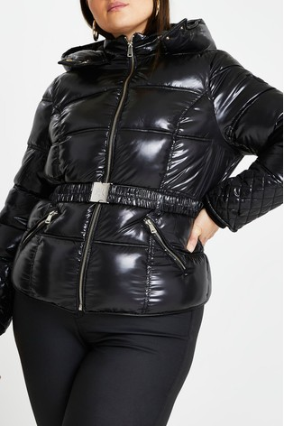 River Island Plus Black Clean Fitted Padded Jacket