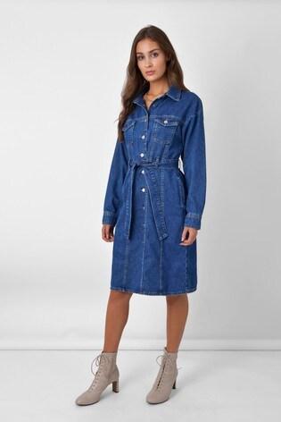 Ro&Zo Blue Denim Seam Detail Dress