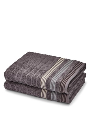 Set of 2 Garrat Stripe Bath Sheets by Catherine Lansfield
