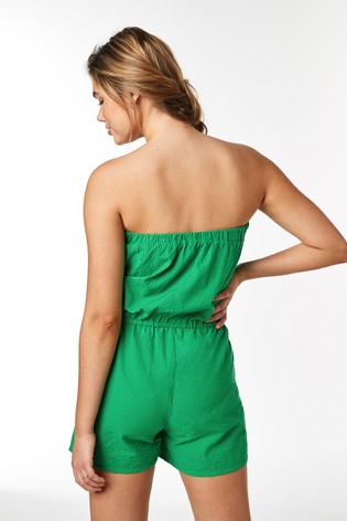 Green Textured Bandeau Playsuit