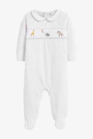 White Smart Giraffe Sleepsuit (0-2yrs)