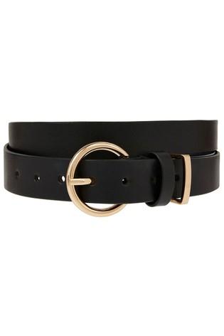 Accessorize Black Round Buckle Leather Jeans Belt