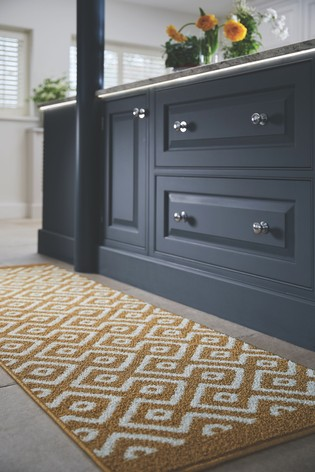 Geo Washable And Stain Resistant Non Slip Rug by My Mat