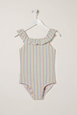 FatFace Multi Stripe Frill Swimsuit