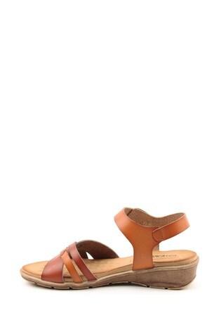 Heavenly Feet Iris Ladies Brown/Tan Low Wedge Sandals