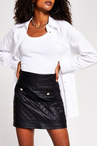River Island Black Quilted Mini Skirt