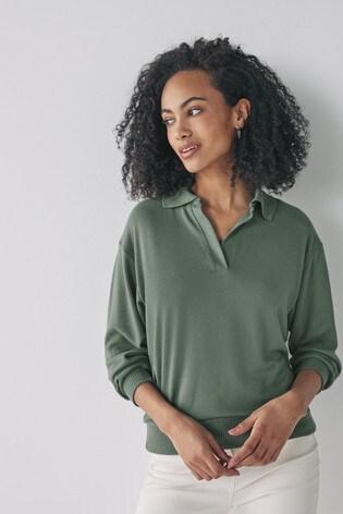 Khaki Premium Cosy Revere Neck Top
