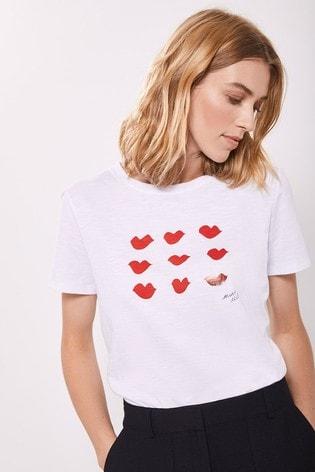 Mint Velvet White & Red Lips Print T-Shirt