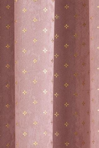 Enhanced Living Blush Gemini Metallic And Velvet Pencil Pleat Curtains
