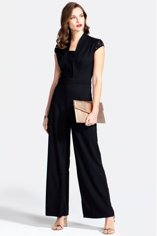 HotSquash Black Crepe Jumpsuit With Lace Detail