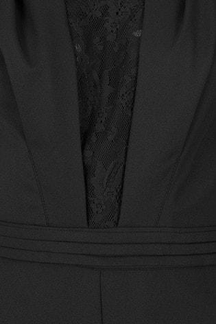 HotSquash Black Crepe Jumpsuit With Lace Detail