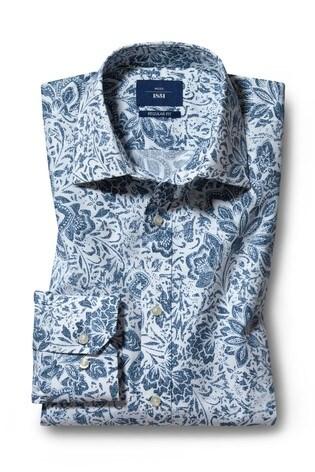 Moss 1851 Regular Fit Navy Single Cuff Floral Print Shirt