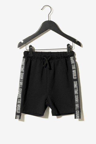 Sometime Soon Black Side Tape Shorts
