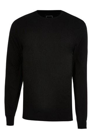 River Island Black Slim Long Sleeve Stepped Hem Cuff T-Shirt