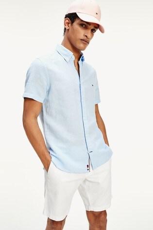 Tommy Hilfiger Blue Slim Cotton Linen Short Sleeve Shirt