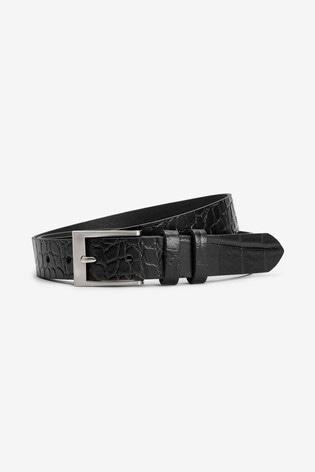 Black/Crocodile Emboss Leather Belt