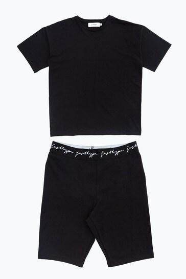 Hype. Black Oversized T-Shirt And Cycle Shorts Set