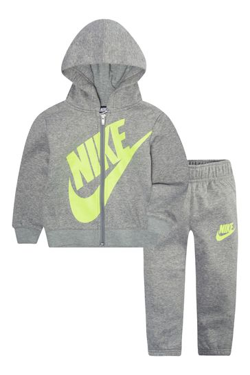 Nike Infant Grey/Green Zip Through Hoodie And Joggers Set