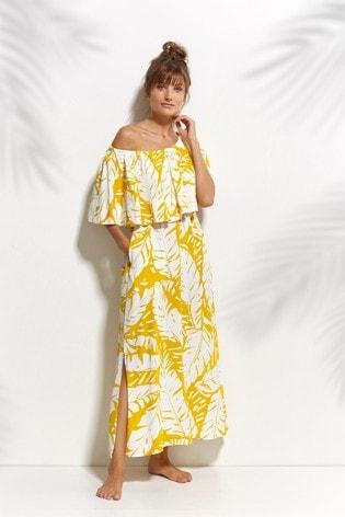 Watercult Yellow Summer Sprizz One Shoulder Dress