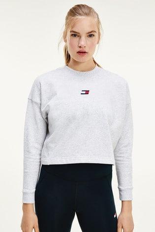 Tommy Hilfiger Grey Cropped Logo Sweatshirt