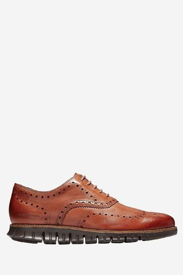 Cole Haan Tan Zerogrand Wingtip Oxford Leather Lace-Up Shoes