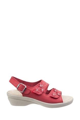 Fleet & Foster Red Amaretto Women's Touch Fastening Leather Sandals