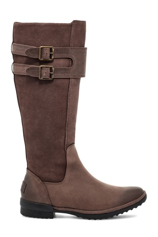 UGG® Brown Zarina Leather Suede Tall Boots