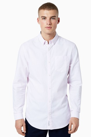 Original Penguin® Pink Striped Cotton Oxford Long Sleeved Shirt