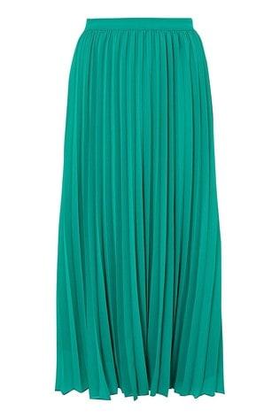 Monsoon Green Meryl Recycled Polyester Pleated Skirt