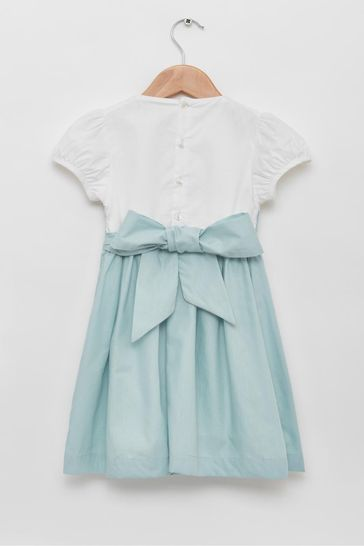 Trotters London Blue Rose Hand Smocked Dress