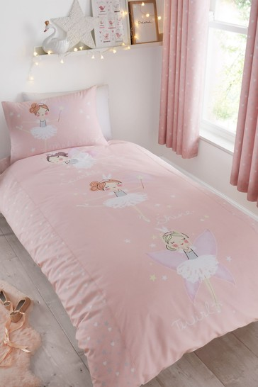 Catherine Lansfield Pink Make A Wish Glow In The Dark Duvet Cover and Pillowcase Set