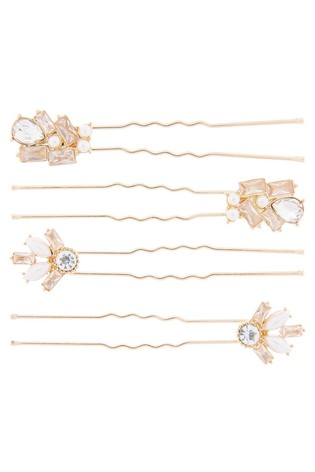 Accessorize Cream 4 x Baguette And Peal Pins