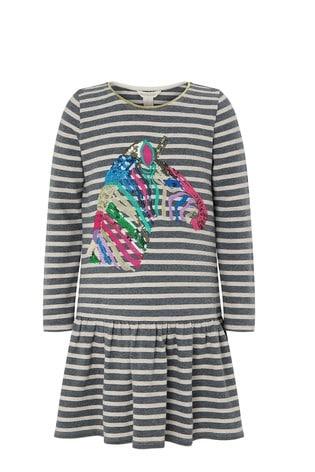 Monsoon S.E.W Zebra Sequin Stripe Sweat Dress