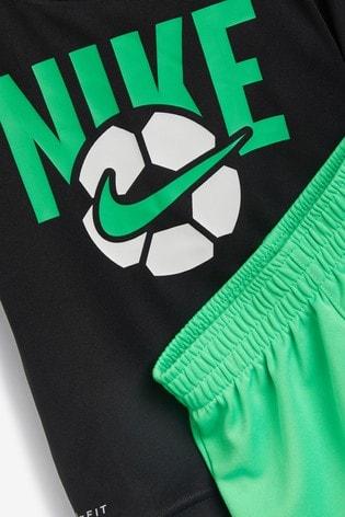 Nike Little Kids Black/Green Football T-Shirt and Shorts Set