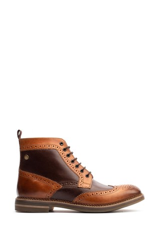 Base London® Brown Banner Burnished Lace-Up Brogue Boots