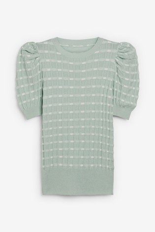 Mint Check Tulip Sleeve Jumper
