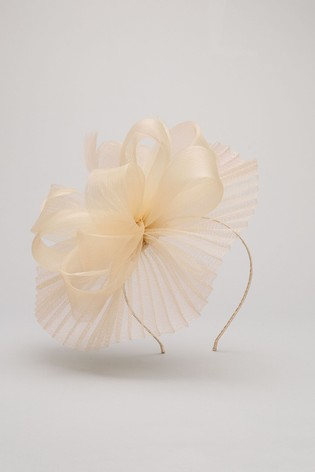 Phase Eight Cream Valens Pleated Headband Fascinator