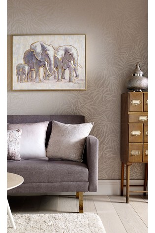 Metallic Elephant Family Hand Painted Framed Canvas by Art For The Home