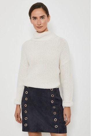 Navy Eyelet Suede Mini Skirt