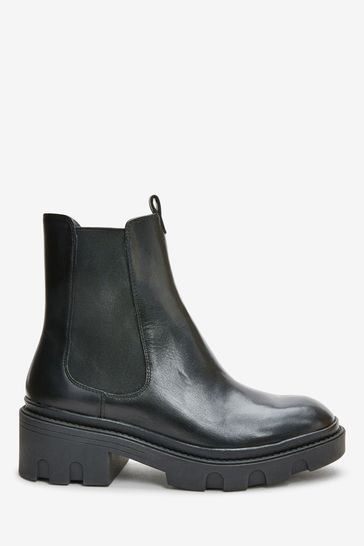 Black Regular/Wide Fit Forever Comfort® Chunky Chelsea Boots