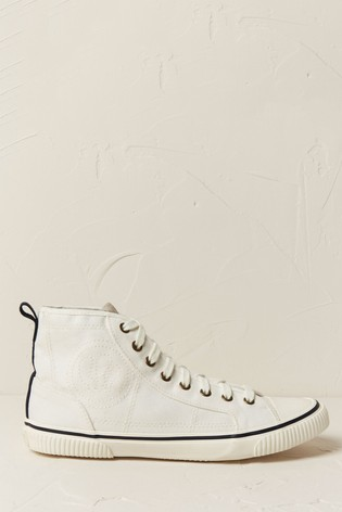 FatFace White Organic Hi Top Lace-Up Trainers