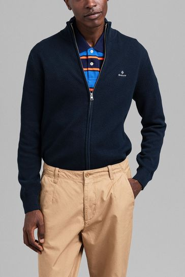 GANT Blue Cotton Pique Zip Cardigan