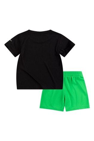 Nike Infant Black/Green Football T-Shirt And Shorts Set