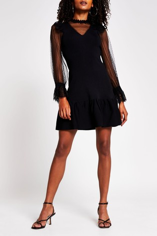 River Island Black Lace Hybrid Dress