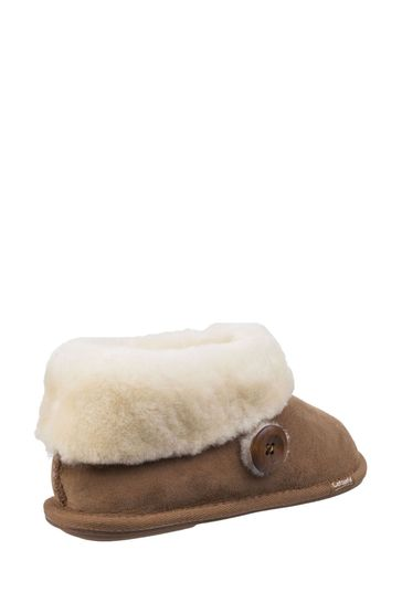 Cotswold Brown Wotton Sheepskin Bootie Slippers