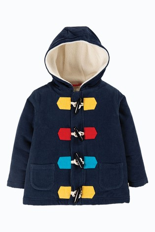 Frugi GOTS Organic Navy With Snuggly Cotton Fleece Lining Cord Duffle Coat