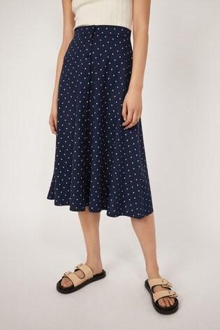 Warehouse Blue Spot Button Midi Skirt