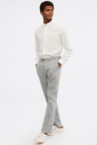 White Stuff Grey Northcote Linen Trousers